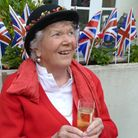 Pippa Pugh pictured at a street party outside her Hampstead home to celebrate the wedding of Prince