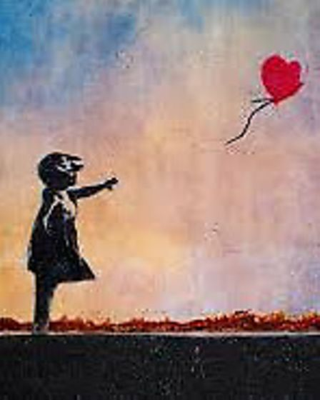 Copy Banksy's Girl with a Ballon at a pop-up paint class on Wednesday