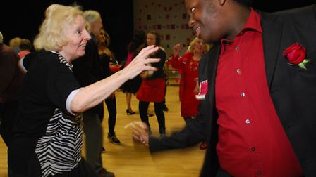 Dancing at the annual Haverstock School Valentine's Tea Dance, 6th form host Jordan Peterson (17) da