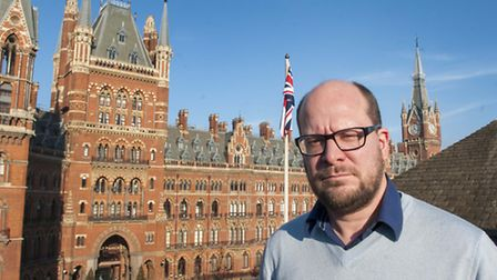 Cllr Theo Blackwell, cabinet member for finance, atop Camden Town Hall. Picture: Nigel Sutton.