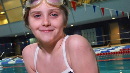 Mia Moon, aged 11, swimming at Swiss Cottage Leisure Centre. Picture: Polly Hancock