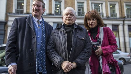 John Challis, Sir David Jason and Sue Holderness arrive at St Paul's Church in Covent Garden for the