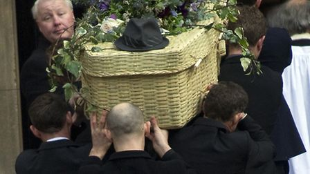 The coffin of actor and Kentish Town 'local hero' Roger Lloyd Pack is carried into St Paul's Church