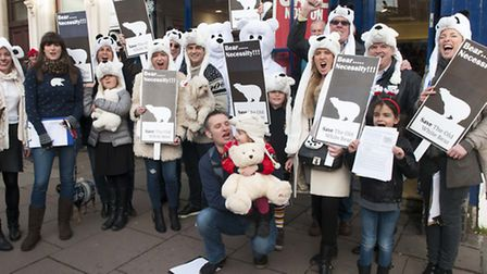 Campaigners dress up to save the Old White Bear in Well Road. Picture: Nigel Sutton