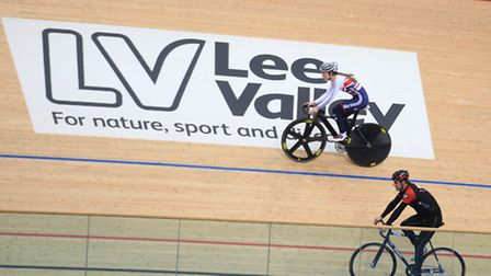 Laura Trott and Mark Colbourne, ambassadors of Lee Valley VeloPark on the track today.