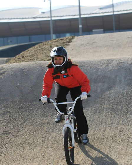 Reporter Emma Bartholomew on the BMX track at the VeloPark today.
