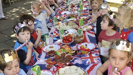 Church Row Nursery pupils at a Queen's Diamond Jubilee street party. Picture: Nigel Sutton
