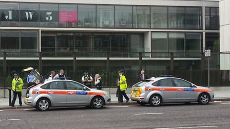Police at the JW3 Jewish community centre this morning after a bomb scare at the headquarters of a J