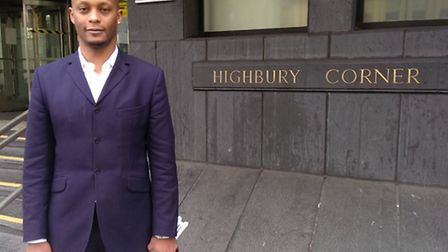 Alexi Ajavon outside Highbury Corner Magistrates' Court after the trial on Monday