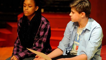 Nia Hudson and Finn Tollemache peform in a rehearsal of Fame