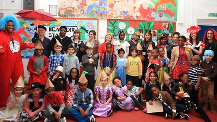 Pupils dress up as book characters on World Book Day at De Beauvoir School, Hackney.
