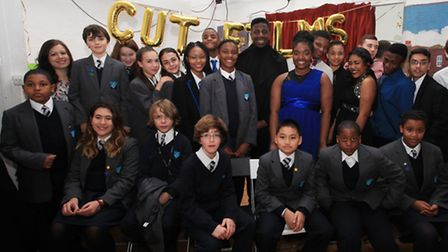The Voice star Jermain Jackman, centre, joins the launch of Hackney cut films.