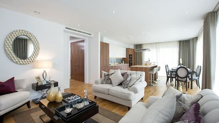 The living space in the two-bedroom showhome at the Lexington, NW11