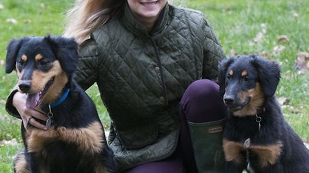 Dog breeder Hana Ros with her two English Shepherds. Picture: Nigel Sutton.