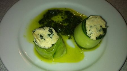 Cucumber cannelloni stuffed with herbed cashew cheese at The Russet