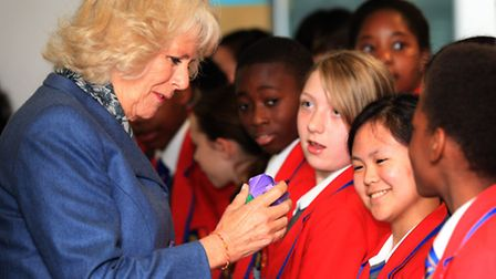 """The Duchess of Cornwall celebrates """"Words for Words"""" at the City Academy, Hackney."""