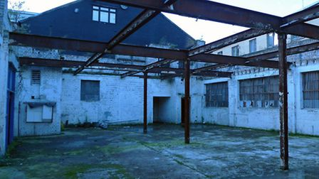 The derelict building in Ram Place which will be used for the Beyond Barbican fashion market.