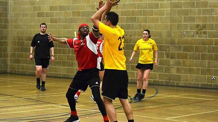 Moses Hutchinson-Pascal (left) in action for Highbury Korfball Club