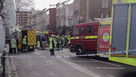 Police, fire and ambulance crews attended the accident in Stoke Newington Road this afternoon. Photo