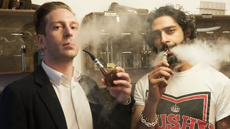 Andy Logan and Amar El-zayat, co-directors of Vape Emporium, demonstrate their products. Picture: Ni