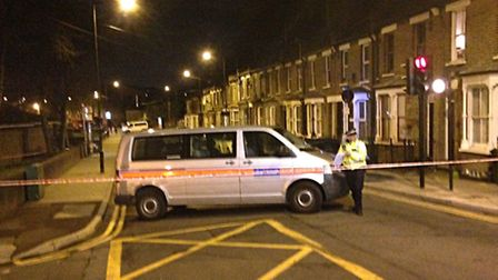 A police cordon at the scene in Eastway, Hackney, on Saturday night (Picture: Gregory Walton/PA Wire