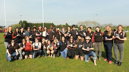 The Hampstead Ladies team show off their runners-up medals. Pics: Paolo Minoli