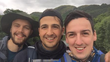Conquerers of the Three Peaks Challenge. From left to right: Alex Smith, Chris Burt, Alex Scupham. P