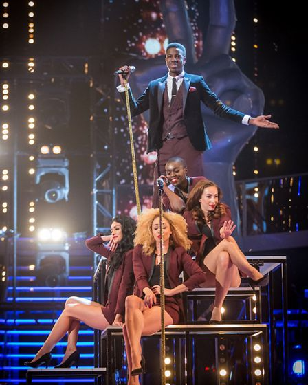 Jermain Jackman on the live quarter final BBC show The Voice. Photo Guy Levy
