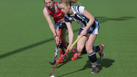 Emma Stocking (right) scored Hampstead & Westminster's winning goal in the EH Cup semi-final. Pic: M