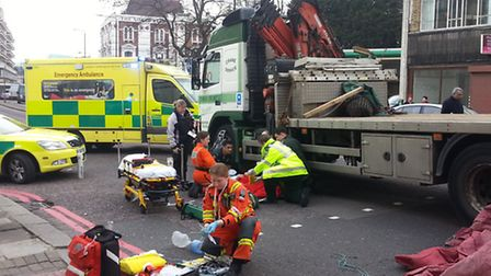 The woman, thought to be in her 70s, was hit by a 12 tonne truck