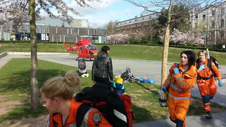 Paramedics arrived by air ambulance but were unable to save the swimmer's life