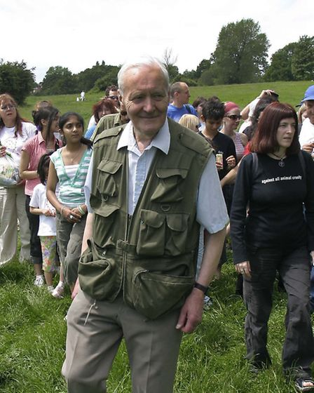 Tony Benn at an Animal Aid-sponsored walk on Hampstead Heath in 2006. Picture: Nigel Sutton.