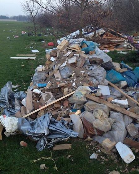 The pile of rubbish dumped on Hackney Marsh