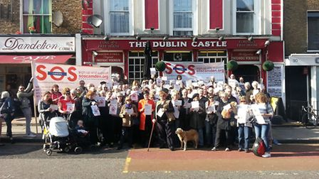 Camden Council leader Cllr Sarah Hayward joins campaigners at an anti-HS2 protest this week