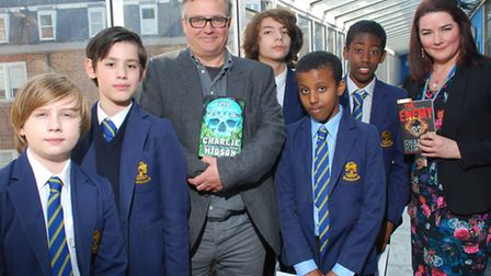 Writer Charlie Higson with students from William Ellis School. From left Corron Buxton, 12, David He