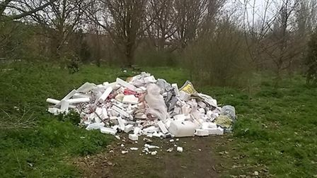 The pile of industrial waste, polystrene, plastic and bottles which was dumped on Hackney Marsh on T