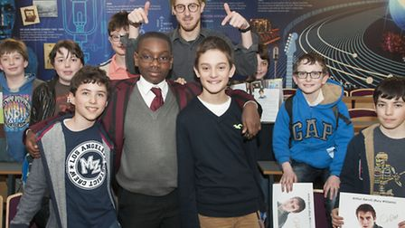 Dr Who actor Arthur Darvill (back centre) at University College School during a visit organised by M