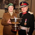 Sir David Brewer, Lord-Lieutenant of Greater London and Corporal Pamela French (3rd Battalion Milita