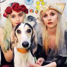 Kayleigh Allenby (left) and Alice Old with their injured dog Falkor at the end of the evening. Pictu