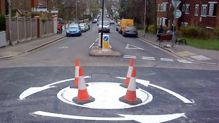 The roundabout with arrows painted in the wrong direction. Picture: Kate Stafford