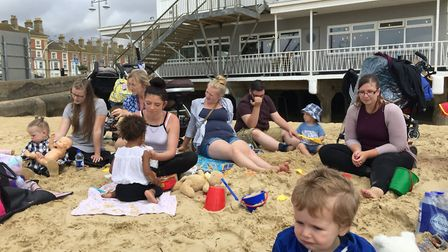 Mums and their little ones enjoy the Family Nurse Partnership picnic on Lowestoft beach. Picture: co