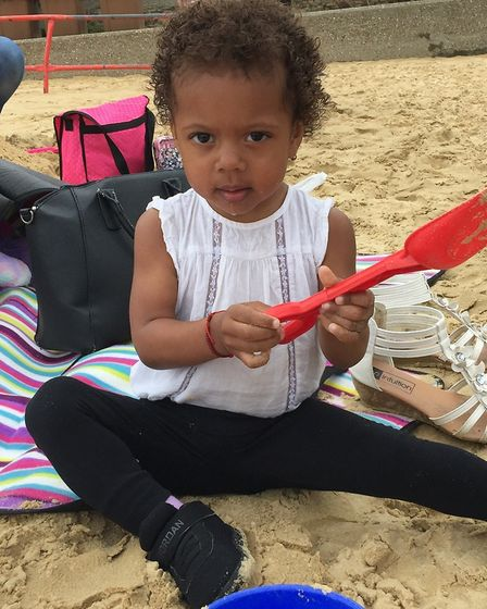 Fun in the sand for Taliah Church. Picture: courtesy of ECCH