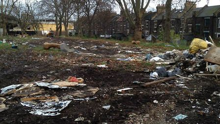 Mabley Green, destroyed by fly tipping, photo Damian Rafferty.