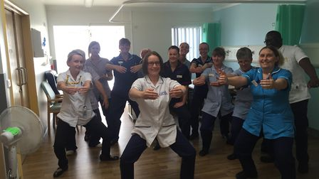 Ward staff at Beccles Hospital taking part in a pilates class run by physiotherapist Sarah Doyle. Pi
