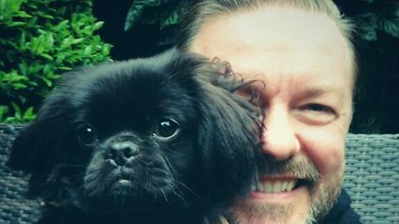 Ricky Gervais tweeted this photo posing with Pekinese-cross Wookie. Picture: Twitter/Ricky Gervais