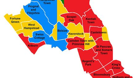 Camden's current political make-up. Red = Labour. Blue = Conservative. Yellow = Liberal Democrat. Gr