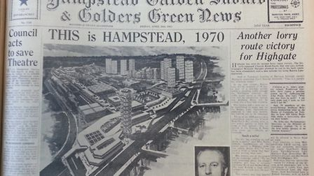 The front page of the Hampstead and Highgate Express (April 26, 1963) reporting on strongly objected