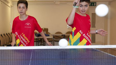 Jamie Fattal (left) and Jonathan Sinyor playing table tennis at the LJCC. Picture: Nigel Sutton.