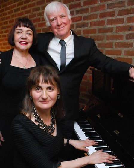 Francoise Pierre-Geller, narrator Gordon Griffin and pianist Gloria Moss. Picture: Polly Hancock.
