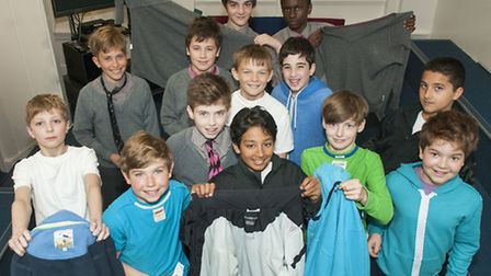 Pupils from the Hall School on Fashion Revolution Day. Fashion Revolution is a charity promoting th